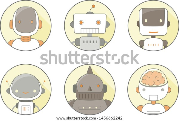 face line icons of robots