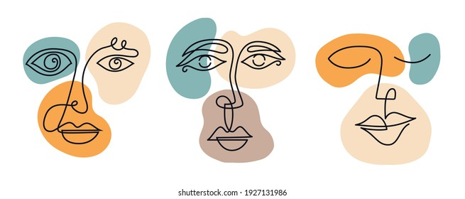 face line portrait abstraction wall art illustration design vector. creative shapes design graphics with textured geometric shapes. abstract geometric face minimalism. girl woman silhouette cubism.