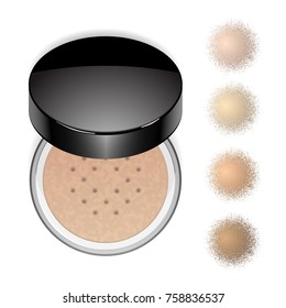 Face loose makeup powder with swatches. Vector realistic cosmetic powder in the black round glossy plastic case. Isolated on white background. Top view.