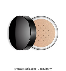 Face loose makeup powder. Vector realistic cosmetic powder in the black round glossy plastic case. Isolated on white background. Top view.