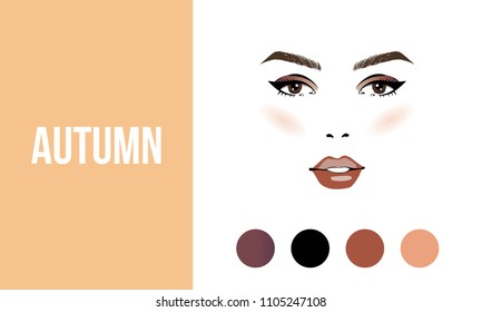 Face makeup autumn type of female appearance. Face of young woman. Seasonal color analysis palette. Seasonal color type for women skin beauty card. Stock vector illustration