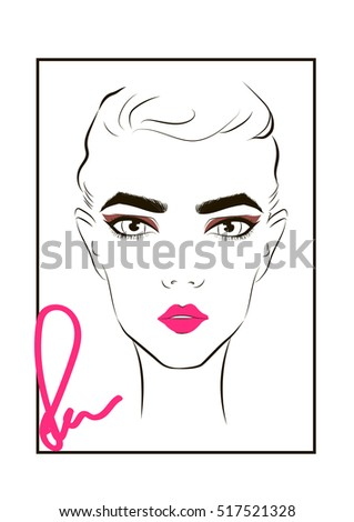 Face Makeup Chart Trendy Womans Makeup Stock Vector Royalty Free