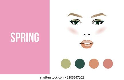Face makeup spring type of female appearance. Face of young woman. Seasonal color analysis palette. Seasonal color type for women skin beauty card. Stock vector illustration