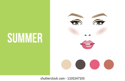 Face makeup summer type of female appearance. Face of young woman. Seasonal color analysis palette. Seasonal color type for women skin beauty card. Stock vector illustration