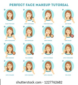 Face makeup tutorial for woman. Applying powder, foundation and concealer on skin. Daily routine of face contouring. Guide for perfect make up. Isolated vector flat illustration