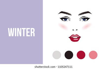 Face makeup winter type of female appearance. Face of young woman. Seasonal color analysis palette. Seasonal color type for women skin beauty card. Stock vector illustration