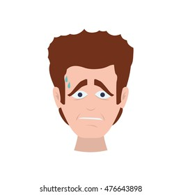 face man boy sad expression cartoon icon. Isolated and flat illustration. Vector graphic
