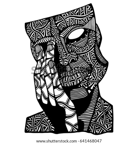 Face Man Doodle Art Coloring Page Stock Vector (Royalty Free ...
