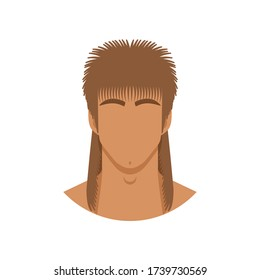 Face of man with mullet haircut