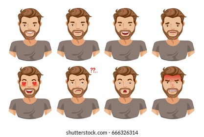 Face man Set of male facial emotions. Bearded man emoji character with different expressions. Vector illustration in cartoon Isolated on white background