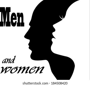 Man Woman Face Silhouette Images Stock Photos Vectors Shutterstock