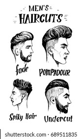 The face of a mans profile with modern haircuts. Sketch style. Hand drawn illustration converted to vector