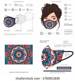 Face Mask Background Design, Raksha Bandhan Traditional Print, Ethnic Pattern, African, Stylish, Fabric, Protective Face Mask Mockup Template, Seamless Print Vector, Abstract