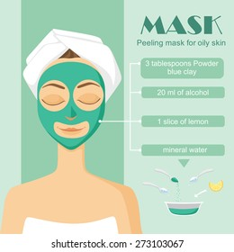 face mask of blue clay. Beautiful young girl cares for the skin. Facial Treatments. Facials