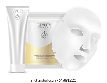 Face mask. Collagen Hydrate Product Pack. Beauty Moisture Sheet Mockup concept. Face Cream Tube template with Mask Sachet. clear White Treatment Cosmetics Design isolated
