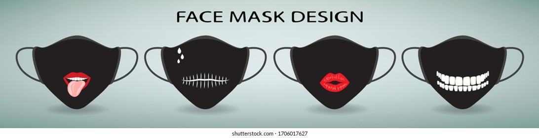 Face mask design. Set of 4 medical masks with print. Lips with tongue, teeth, mouth stitched on a black background. Protective measures from coronavirus and flu. Modern person accessories, vector
