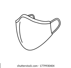 Face mask doodle, hand drawn vector doodle illustration of a face mask used by people against COVID-19.