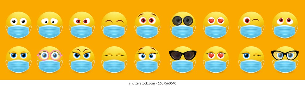 Face mask emoji set, vector isolated illustration. Yellow smile wearing medical mask for social media chat. Cute emoticon characters for electronic comunication. Corona virus disease COVID-19 concept