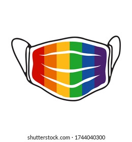 Face mask with rainbow flag isolated on white background. LGBT pride month sign. Gay rights symbol. Conceptual vector illustration. Flat design element for sticker, leaflet, poster.