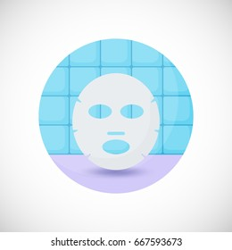 Face mask vector flat icon, Flat design of medicine, cosmetology and healthcare object in the bathroom interior, vector illustration with shadows