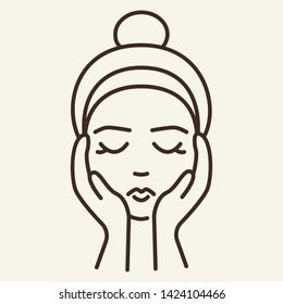 Face massage line icon. Woman, customer, hands touching face. Beauty care concept. Vector illustration can be used for topics like cosmetology, skin care, spa salon