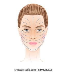 Face massage lines scheme. Isolated vector illustration.