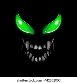 Face monsters with glowing eyes and a sinister smile, grin, photorealistic vector illustration in 3d style, isolated on a black background