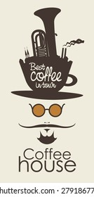 face the mustachioed man with a cup of coffee instead of a hat
