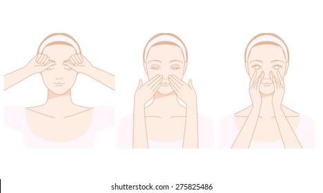 Face, nose streaks self massage