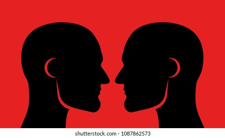 Face off (face-off), rivalry and competition between two men. Masculine males with muscular jawline and looking into faces - close physical contact, challenge to rival and competitor
