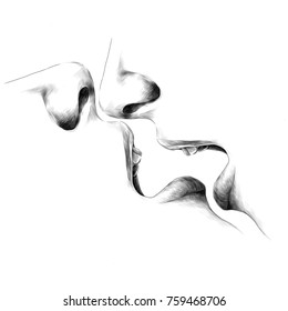 face open mouth lips nose passion sex kiss the reflection of the sketch vector graphics monochrome black-and-white drawing