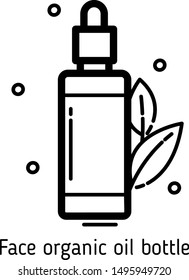 Face organic natural oil bottle vector line icon. Use for beauty online shop, skin care routine or blogger, cosmetologist story highlights. Isolated on white background.