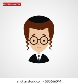 Face of orthodox jew. Boy avatar isolated on white background. Vector flat icon.