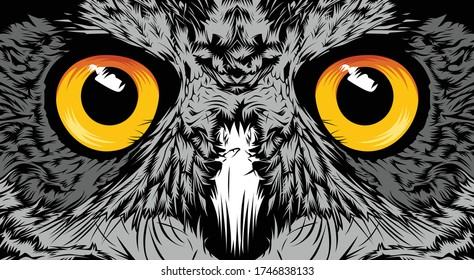 Face owl illustration sketch portrait closeup design vector