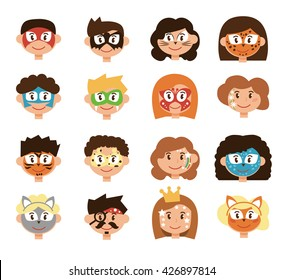 Face painting. Children. Kids masks. Cartoon illustration, flat style. Masks: fox, butterfly, wolf, robot, hero, pirate, princess and others