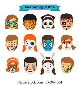 face painting icons kids faces animals stock vector royalty free