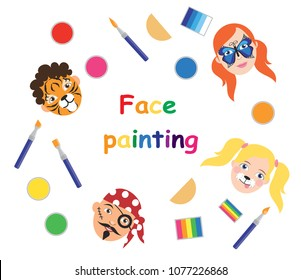 Face painting for kids collection. Vector illustration
