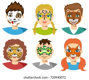 Face painting, kids faces with painting isolated on white background