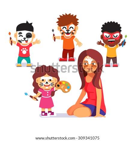 Face Painting Party Kids Brushes Playing Stock Vektorgrafik