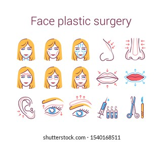 Face plastic surgery color line icons set. Rhinoplasty, otoplasty, eye lift, change shape lips, face procedure. Anti aging injection. Signs for web page, mobile app, banner. Editable stroke.