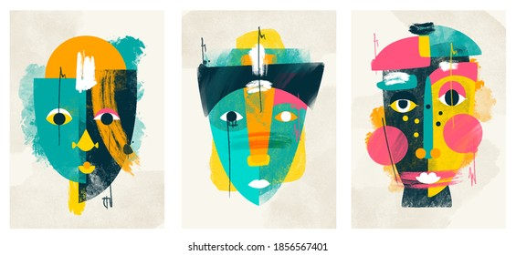 face portrait abstraction wall art illustration design vector. creative shapes design graphics with textured geometric shapes. abstract geometric face minimalism. girl or woman silhouette cubism.  - Shutterstock ID 1856567401