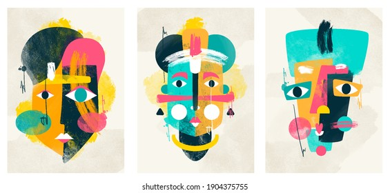 face portrait abstraction wall art illustration design vector. creative shapes design graphics with textured geometric shapes. abstract geometric face minimalism. girl or woman silhouette cubism.