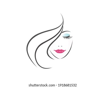 Face of pretty woman silhouette background vector EPS10