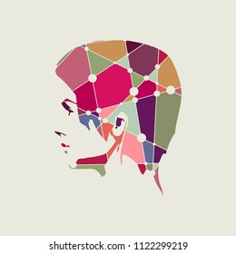 Face profile view. Elegant silhouette of a female head. Silhouette textured by lines and dots pattern
