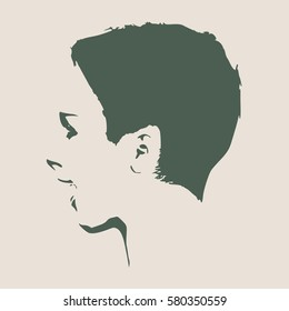 Face profile view. Elegant silhouette of a female head. Vector Illustration. Short hair. Monochrome gamma. Isolated avatar of the expressions face. Surprised woman