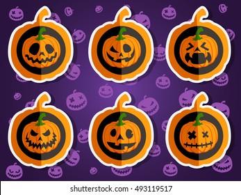 Face pumpkins for Halloween set 1