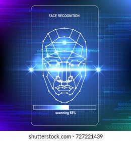 Face Recognition Abstract Tech Background