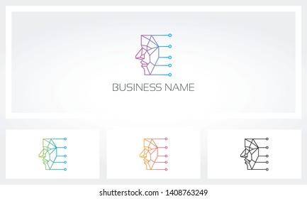 Face Recognition Biometric Polygon Logo