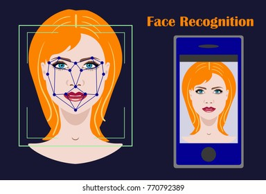 Face recognition biometric security system with a face of woman