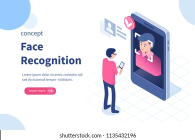 Face recognition concept design. Can use for web banner, infographics, hero images. Flat isometric vector illustration isolated on white background.